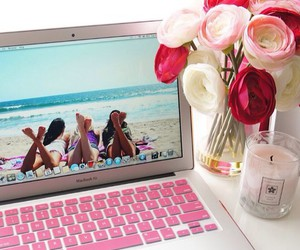flowers, laptop, and pink image