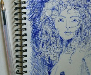 drawing, sketchbook, and woman image