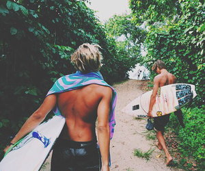 boy, summer, and surf image