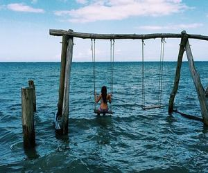 nature, swing, and ocean image
