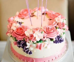 cake, birthday, and flowers image