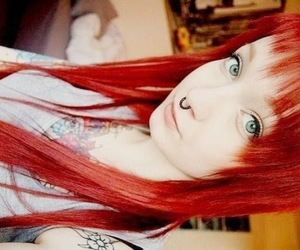 red hair, piercing, and hair image