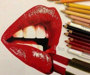 art, lips, and red image