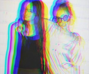 girl, friends, and 3d image