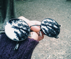 sunglasses, grunge, and forest image