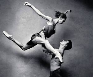 ballerina, black and white, and couple image