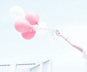 balloons, pink, and pastel image