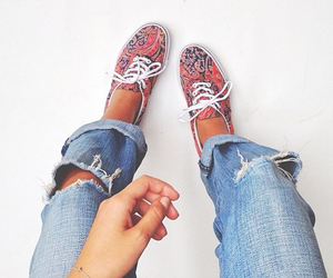 jeans, shoes, and vans image
