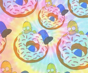 homer, donuts, and background image