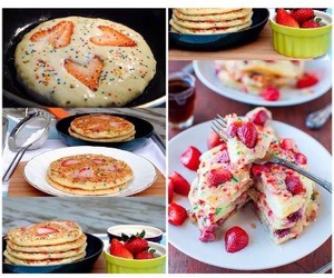 diy, pancakes, and strawberry image