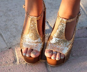 gold, shoes, and steve madden image