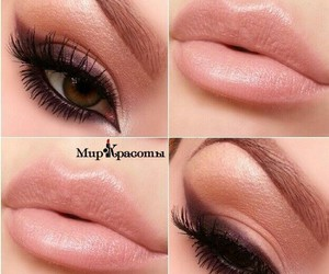 eye makeup, eyes, and lips image