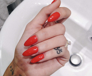 nails, red, and tattoo image