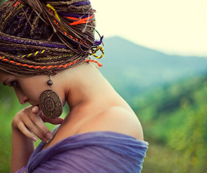 bun, dreads, and hippie image