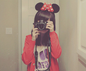 girl, camera, and minnie image