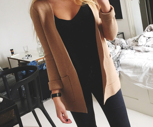 autumn, girl, and beige image