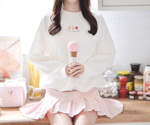 girl, icecream, and pink image