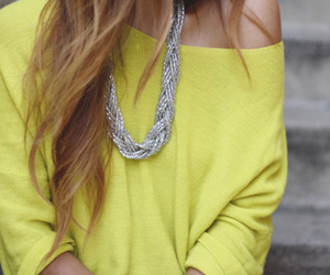 fashion, yellow, and necklace image