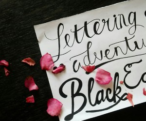 black, hand lettering, and quote image