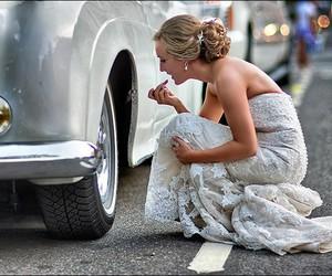 car, wedding, and bride image
