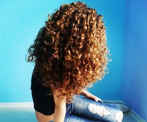 blue, curly, and girl image