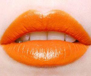 lips, orange, and lipstick image