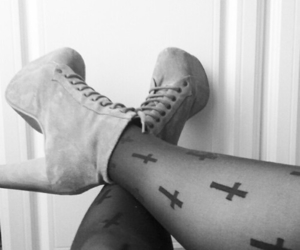 boots, cross, and tights image