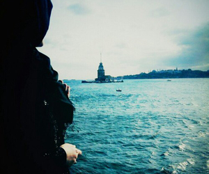fashion, hijab, and sea image