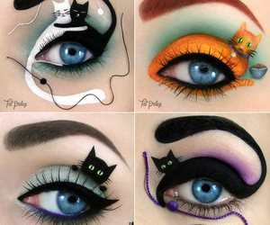 cat, eyes, and make up image