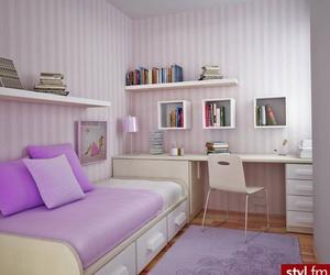 room, bedroom, and purple image