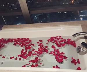 bath, romantic, and roses image