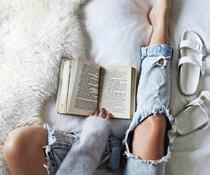 book, jeans, and white image