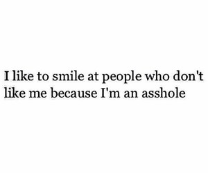 smile, asshole, and quote image