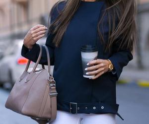 bag, belt, and coffee image