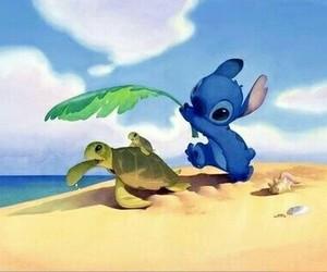 stitch, cute, and beach image