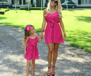 pink, dress, and mom image