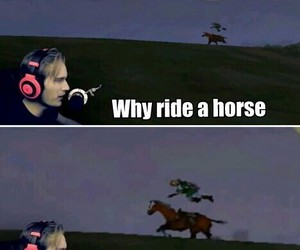 pewdiepie, funny, and horse image