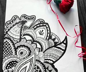 art, black and white, and carnation image