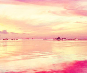 horizon, landscape, and pink image