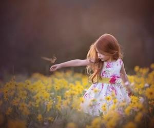 flowers, girl, and bird image