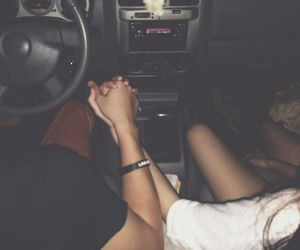 boy, car, and holding hands image
