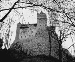 architecture, castle, and black and white image