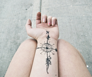 tattoo, compass, and north image