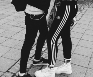 adidas, black and white, and boyfriend image