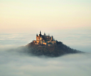 castle, clouds, and nature image