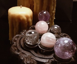 candle, crystal, and crystal ball image