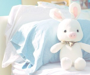 you're beautiful, rabbit, and blue image