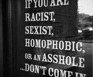 quotes, racist, and homophobic image