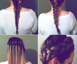 hair, braid, and waterfall braid image