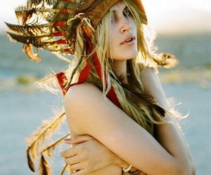 beautiful, feather, and blonde image